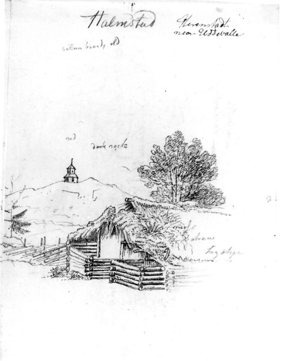 """HalmstadFra skissealbum av John W. Edy, """"Drawings Norway 1800""""."""
