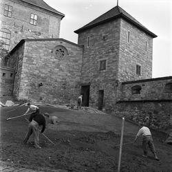 Akershus slott og festning, Oslo. Restaurering. Grunnarbeide