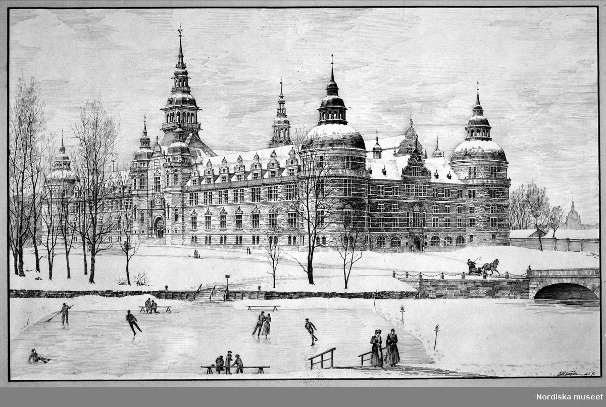 Nordiska museets byggnad. I.G. Clasons förslag 1891, tecknat av hans medhjälpare Gustaf Améen. Skridskoåkning.