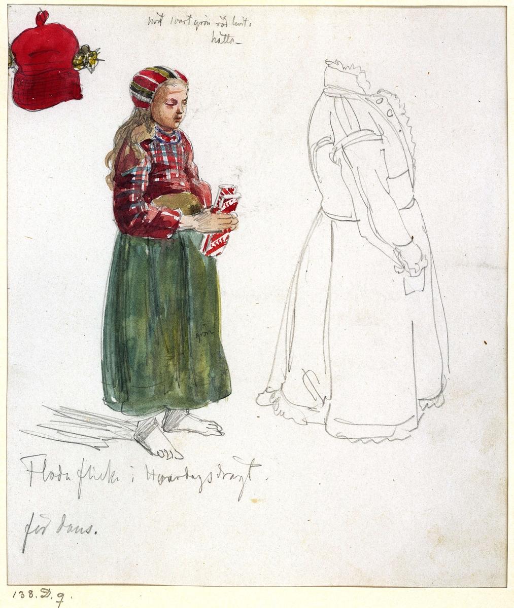 """Folkdräkt, barn. """"Hvardagsdrägt för dans"""". Floda socken, Dalarna. Färglagd teckning av J.W.Wallander. Inv nr 57339C."""