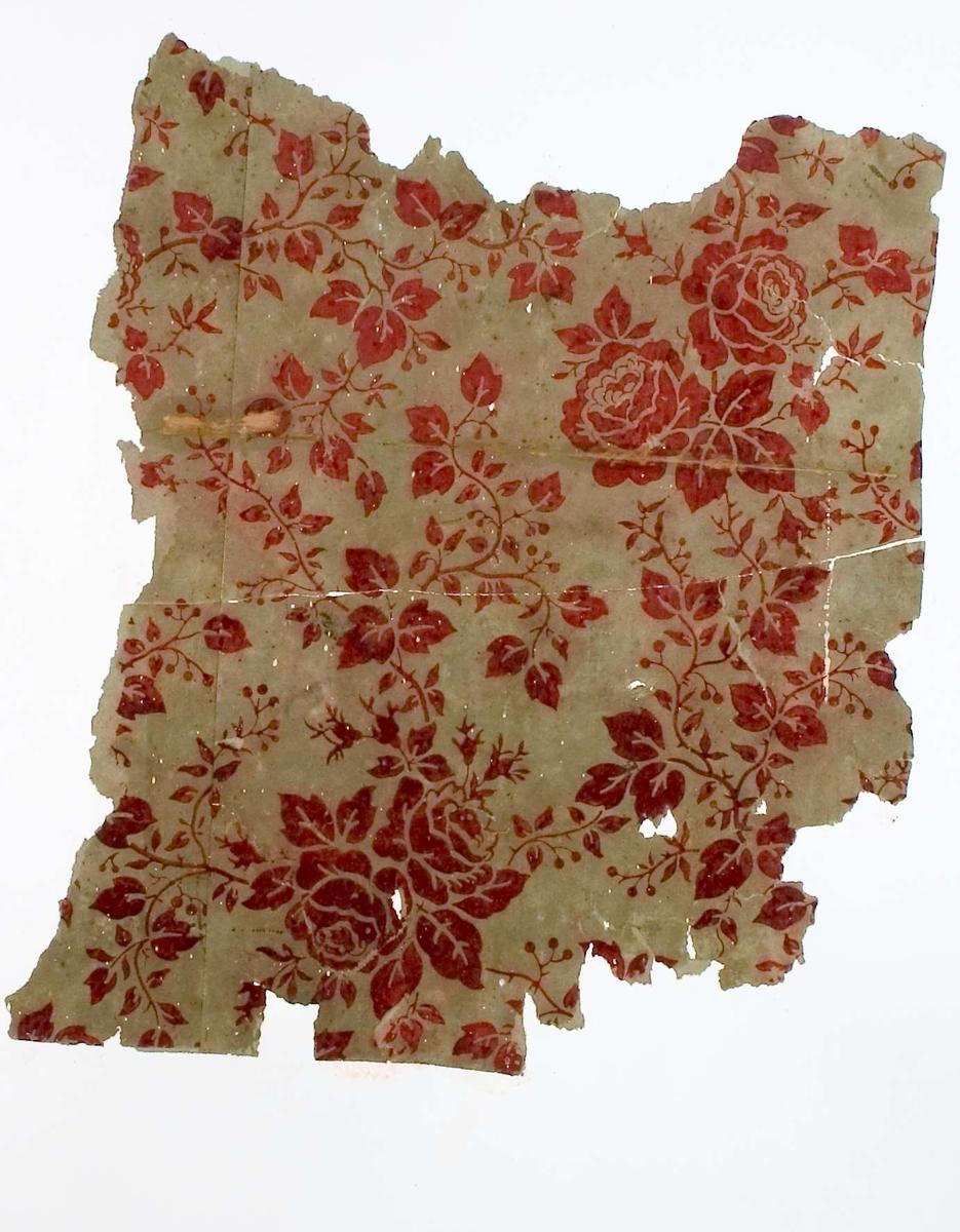 Tapetprov, grön botten med tryckt mönster i mörkt rostrött. Text på baksidan av kartongen: 146 Kv. Duvan nr 5 n.b. Rum 5.