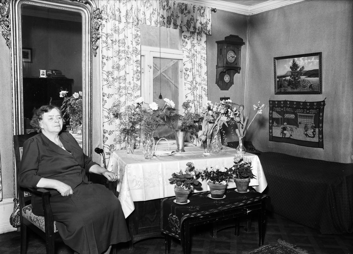 Födelsedagsporträtt - kvinna, Durén, Bredgränd, Uppsala januari 1953