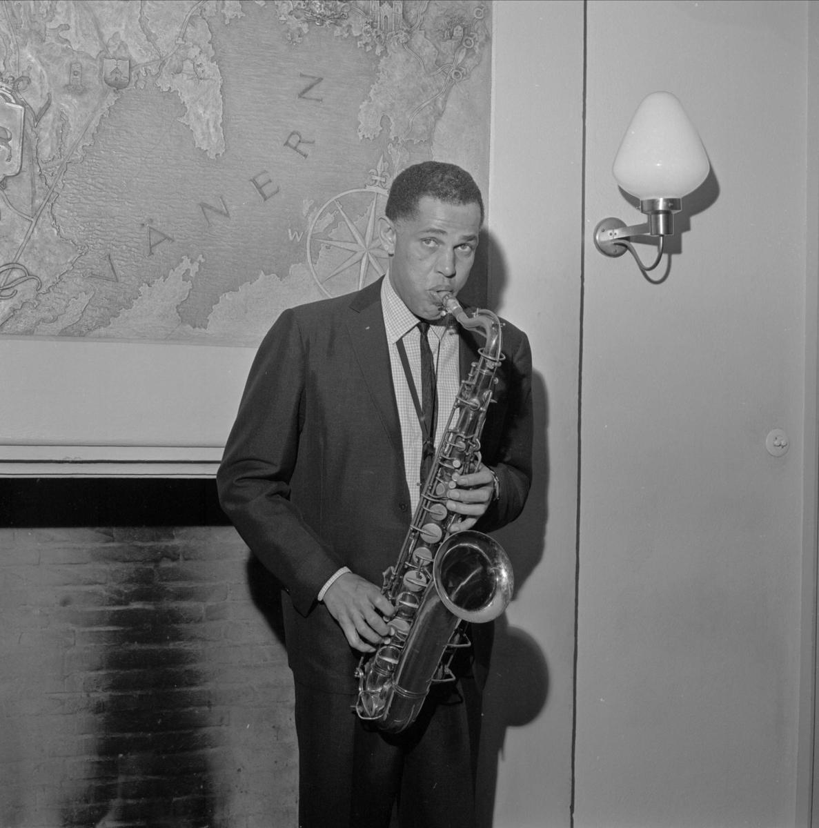 Jazzkonsert med Dexter Gordon, Gästrike-Hälsinge nation, Trädgårdsgatan, Uppsala, oktober 1964