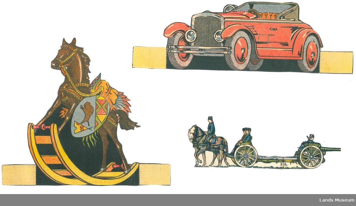 Samling av papirleker. Klipt ut frå utklippsark (A og C), eller avis/magasin (B) og montert på papp.  A- rød bil, 7,5 x 17 cm B- kanonvogn med hest og soldater, 5,5 x 17 cm C- gyngehest, 16 x 12 cm
