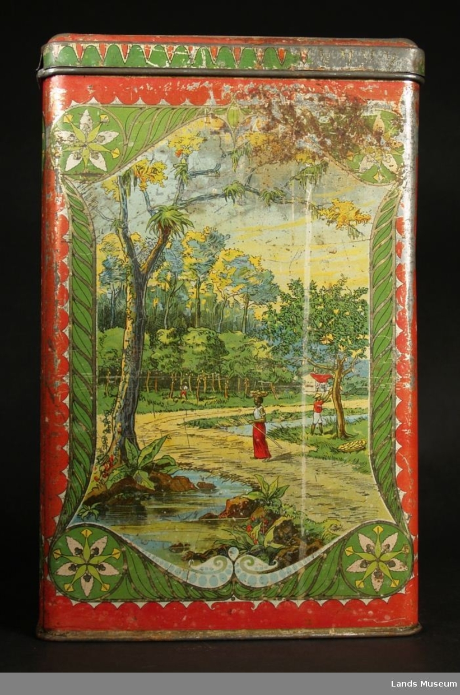 Motiv av kakaoplante - innhausting av kakao- landskap med palmetre. Ramme og ornamenter rundt i art nouveau-stil.