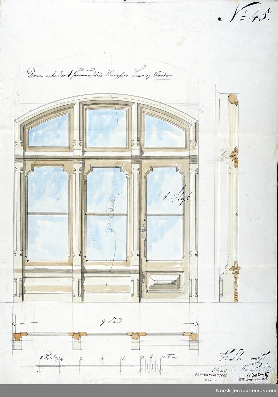 Arkitekttegning : utkast til tredelt vindu