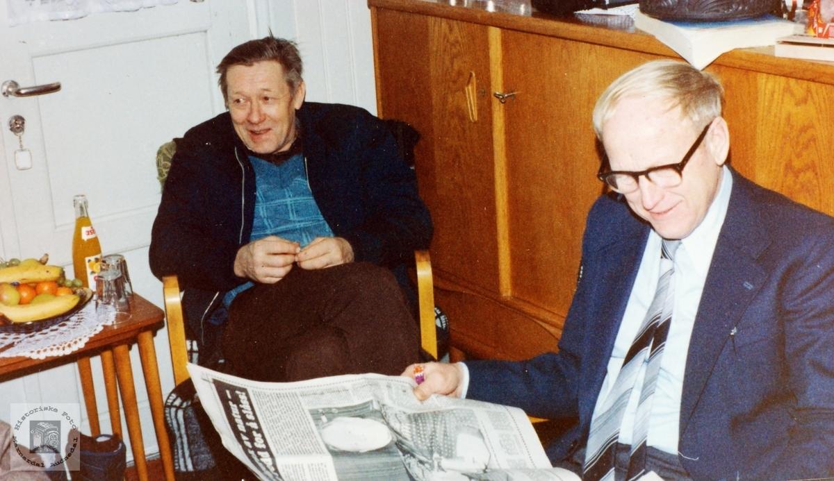 Gamle kamerater, Artor Håland og Gunvald Bransdal. Audnedal.