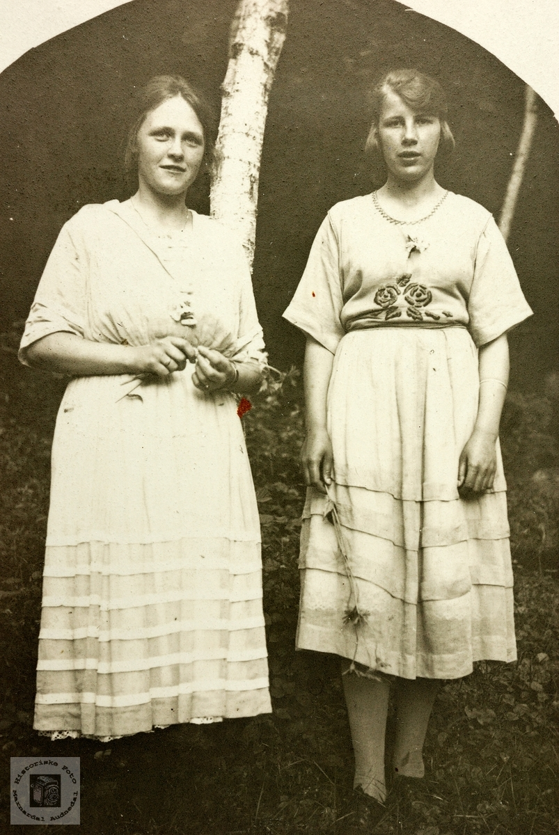 Portrett av to unge damer trolig med tilknytning til Grindheimsområdet.
