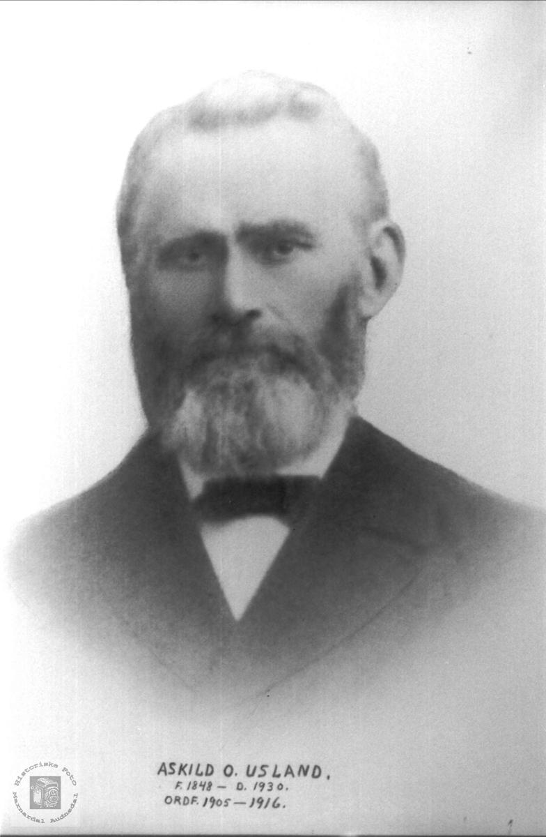 Portrett av Askjell O. Usland. Øyslebø Marnrdal.
