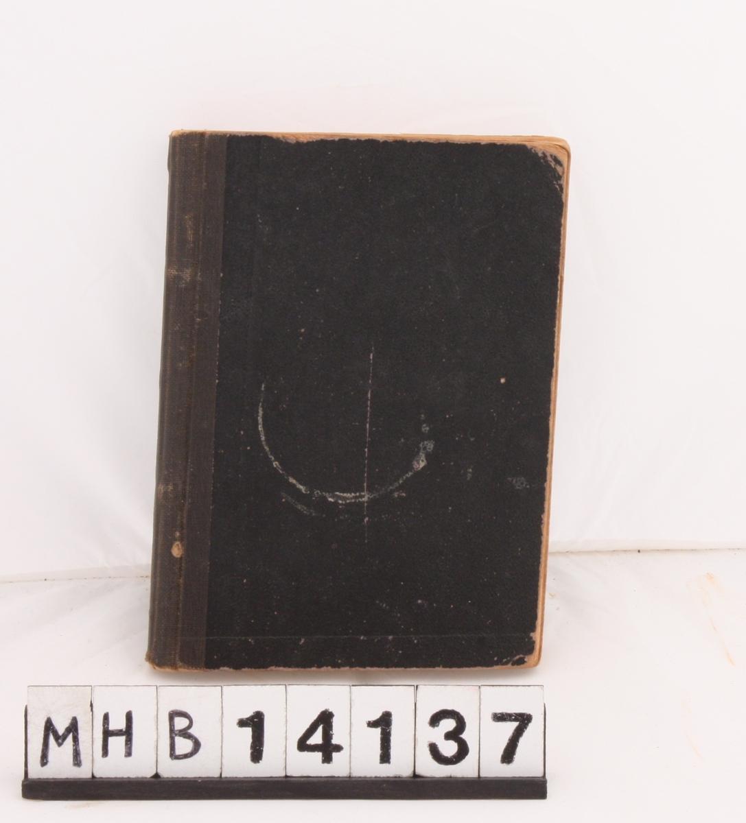 Rektangulær bok med svart innbinding i papp. Boka inneholder teksten på en rekke religiøse sanger.