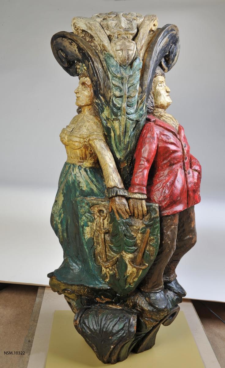 Trefigur fra akterspeil på seilfartøy (ukjent oprinnelse).