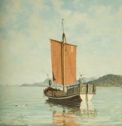 Jekt Svanen av Sogndal i stille sjø med seil og en person til rors