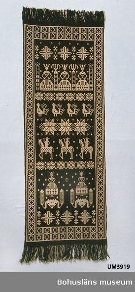 """433 Teknik 1 *DUBBELVÄV)  Rektangulär bonad av oblekt lingarn och mörkbrunt ullgarn. Vävnaden är en rekonstruktion. Mönstret består av en bård med kors i rutor och en mittspegel med mönsterfigurer i rader; geometriska mönster med """"munkabältesstjärnor"""", jungfrur, runduddiga stjärnor, fåglar, stjärnor, ryttare, """"Brinnande ljus"""". Fransar av varpen. Kaststygn sydda runt kortsidornas kanter i linlagret för att tyget repas upp. På baksidan en fastsydd tygetikett med texten: Kopia Föremålets art o benämning: Bonad, """"Stjärnorna"""" Teknik o Storlek: Finnvävnad 0,70 x 1,85 m Material: Svenskull o hemodlat lin (ej handspunnet) Tillverkare: Maria Andersson. Uddevalla. Bohuslän. Ägare: Uddevalla muséum Inköpt 1934. Lös etikett av ljusblå papper från Allmänna svenska distriktslantbruksmötet i Axvall 1935 där bonaden var utställd av Göteborgs och Bohusläns Hemslöjdsförening. I gott skick.  Ur handskrivna katalogen 1957-1958: Finskvävnad """"Stjärnorna"""" L. 183 Längdmåttet taget utan fransarna. Br c:a 68. Brun och vit: ull och lin. Relativt välbevarad. Uddevalla."""