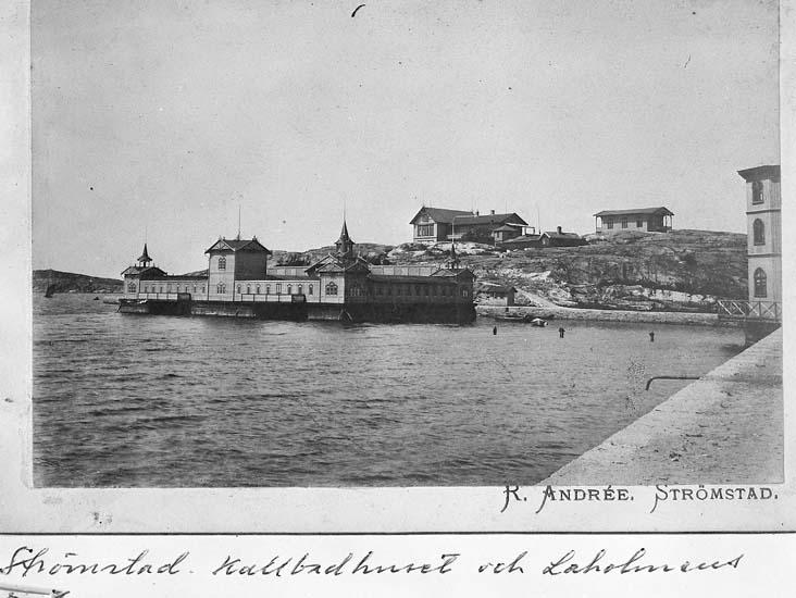 "Text på kortet: ""Strömstad. Kallbadhuset o Laholmens...""."