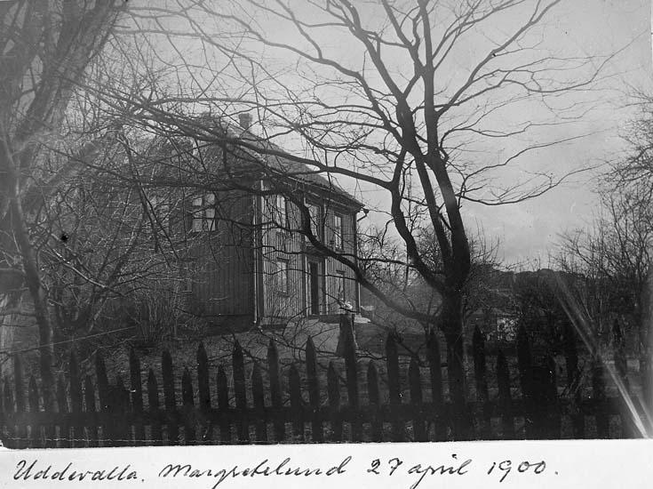 "Text på kortet: ""Uddevalla, Margretelund 27 april 1900""."