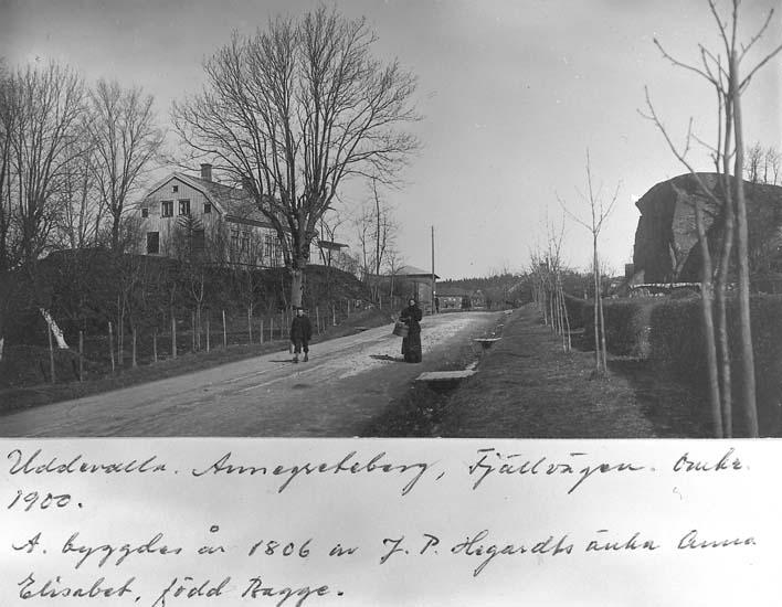 """Text på kortet: """"Uddevalla, Annegreteberg, Fjällvägen, omkr. 1900.  A. byggdes år 1806 av J. P. Hegardts änka Anna Elisabet, född Bagge""""."""