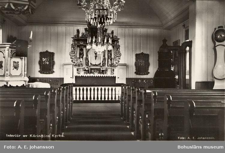 """Text på kortet: """"Interiör av Käringöns kyrka""""."""