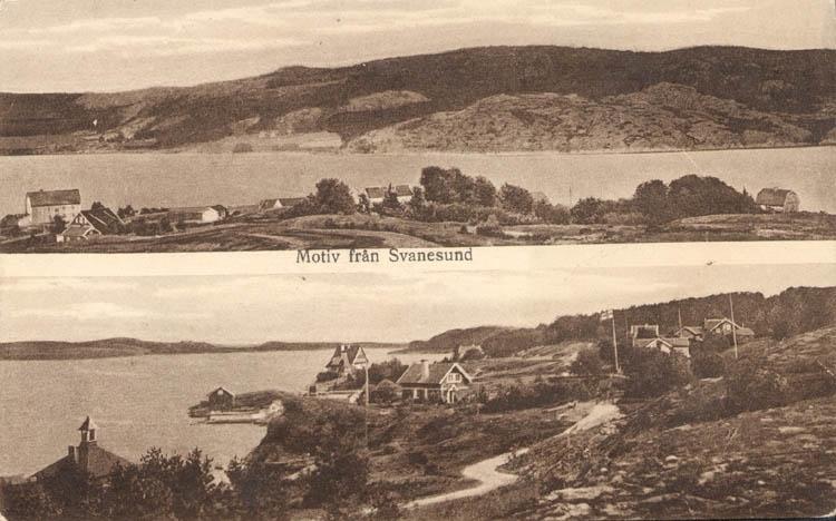 """Tryckt text på kortet: """"Motiv från Svanesund.""""  ::"""