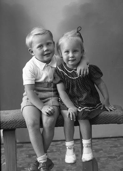 "Enligt fotografens journal nr 7 1944-1950: ""Svensson, Rolf o Agneta St. Höga""."