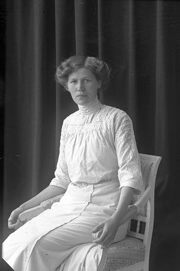 """Enligt fotografens journal nr 2 1909-1915: """"Josefsson, Fr. Hulda Vestergård""""."""