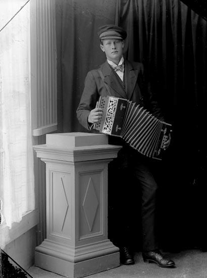 """Enligt fotografens journal Lyckorna 1909-1918: """"Pettersson, Torsten Lyckorna""""."""