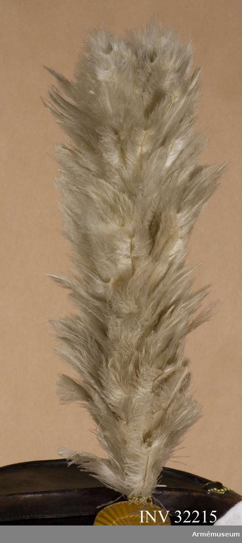 Grupp C I. Ur uniform för manskap vid Livgardet till häst, 1814-20. Består av dolma, päls, spännhalsduk, byxor, knutskärp, tschakå med plym  och kordong, pompong, vapenplåt, tjällband, knappar, sölja, kartusch med kartuschrem, sabelkoppel, sabeltaska med 3 remmar, sabel med balja, sabelhandrem, stövlar med sporrar, handskar. PUBL  AMV Meddelande XIX, s.112.