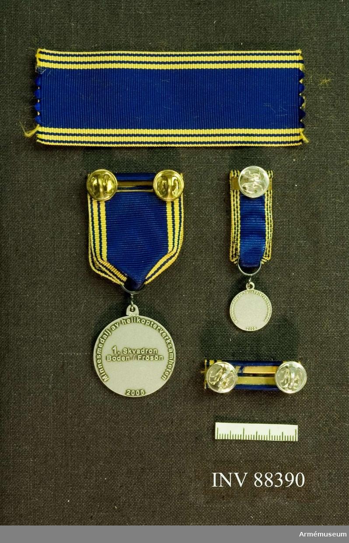 Tre samhörande föremål; en minnesmedalj, en minatyrmedalj och ett släpspänne. Bandet blått med smala gula kanter och två gula streck på vardera sidan. Släpspännet försett med skvadronssiffra i silverfärgad metall.