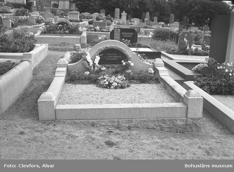 """Text till bilden: """"Grav på Åkerbräckan. (Fröken Ellen Norelius, Vasslevägen 40 Bromma. 1951.07.27""""             i"""