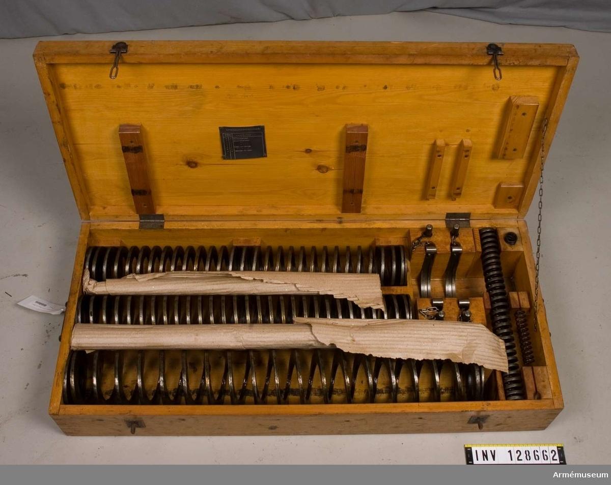 Grupp F III. Låda för reservfjädrar med innehåll för 8 cm luftvärnskanon fm/1925