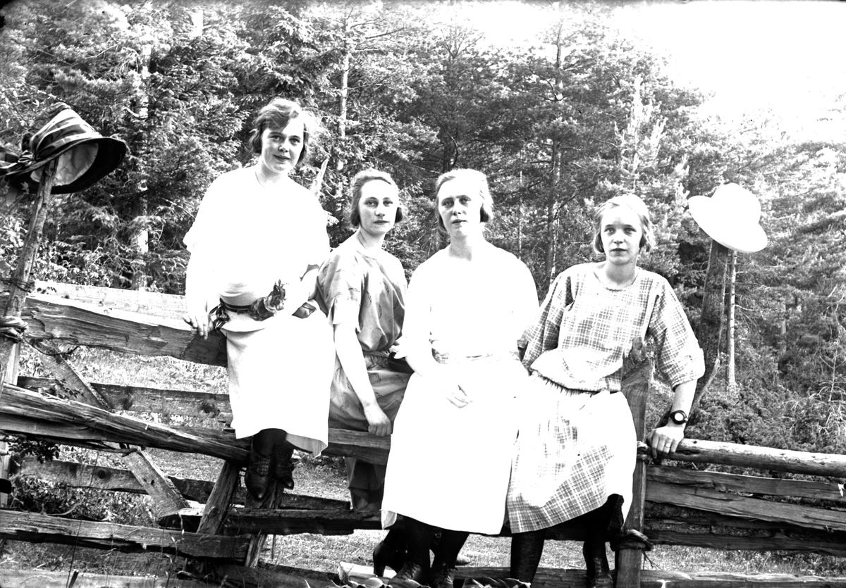 Fyra unga kvinnor sitter på en gärdesgård med skogen i bakgrunden. Två av dem har hängt sina hattar på var sin stolpe.