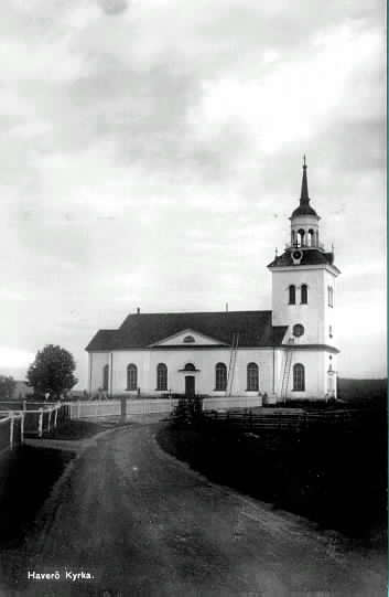 Haverö kyrka. Vykort.