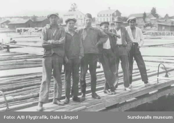 En svit av bilder. Gruppbild, badplatsen vid Dyket med trampolin, timmersortering vid skiljet i Kvitsle, flygbild över Dövikssjön (vykort), hus och människor i Njurunda.