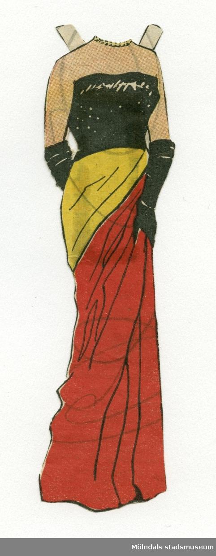 """Aftonklänning i svart, gult och rött till pappersdocka, urklippt ur Hemmets Veckotidning på 1950-talet. På urklipp, fasttejpat på baksidan, står: """"Högelegant blir dockan Gina, som liknar Gina Lollobrigida, i denna aftonklänning. Hon var iförd i nr 38. I näst nr ett nytt vackert plagg."""" Gina Lollobrigida (1927-) är en italiensk skådespelerska som var mycket populär under 1950-talet. Pappersklänningen förvaras i ett litet kuvert av smörpapper (MM 04624-2) med tryckt text: """"113 Hedvall"""", samt handskrivet: """"Hemmets Veckotidningen, Pappersdockor"""". I kuvertet förvaras även andra dockor och kläder (MM 04624-04635)."""