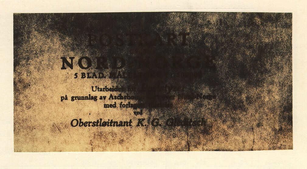Postkarta från Norge, som visar de norra delarna av landet,tryckt 1931 på papper. Kartan godkänd av Oberstlöitnant K Gleditsch. Skala 1:600 000.