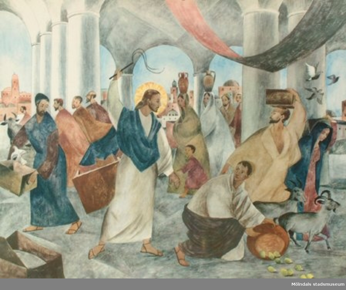 Kristendomskunskap.Jesus driver ut månglarna av Kaj & Per Beckman.Esselte, Stockholm.