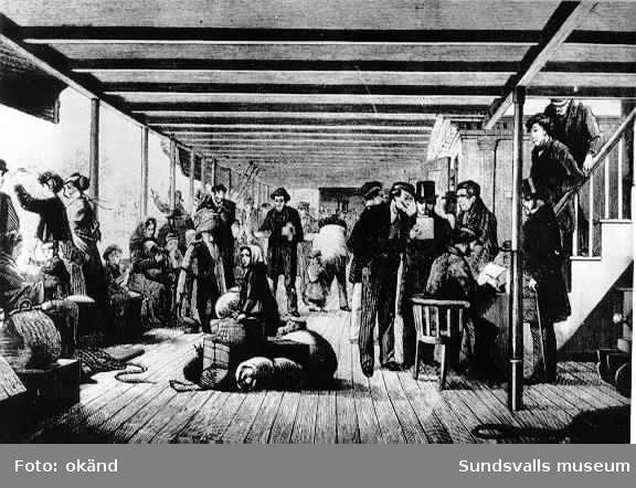 """""""Från promenaddäcket"""" foto av tavla av okänd konstnär skildrande passagerare på emigrantskepp i mitten av 1800-talet. Fotot från Helge Höglunds efterlämnade samling."""