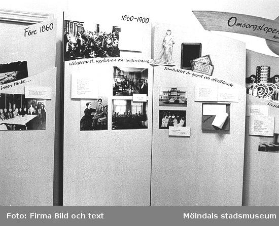 """Interiörbilder från utställningen """"Är du inte riktigt klok?"""". En utställning om utvecklingsstörda medmänniskor från Stretereds skolhem och institutionsvård. Visades 16 mars - 14 oktober 1990 på Mölndals museum (senare Mölndals stadsmuseum)."""
