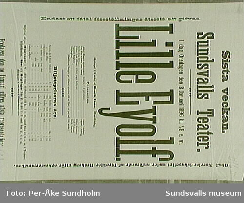 """Teateraffisch ur Sundsvalls Teaterförenings arkiv, Folkrörelsearkivet, """"Lille Eyolf"""", August Lindberg, Sundsvalls Teater, Onsdagen den 8 Januaria 1896 kl. 1/2 8 e.m."""