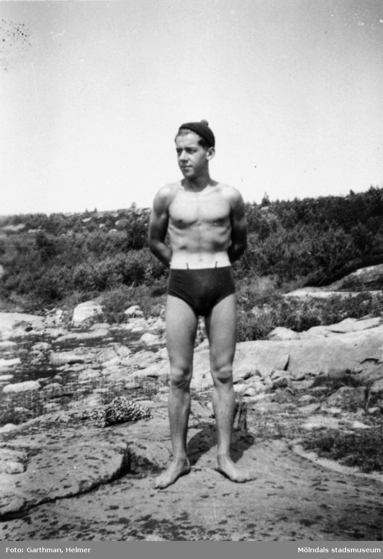 Helmer Garthmans kompis Gösta Gunnarsson vid Näset, 1930-tal.