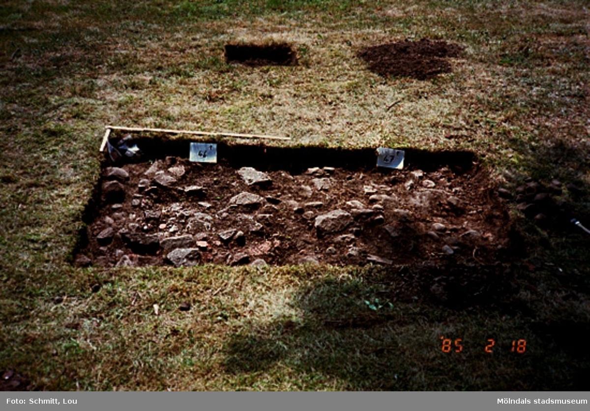 """Drivhuset """"B"""", arkeologisk utgrävning vid Gunnebo slott, augusti 1995."""