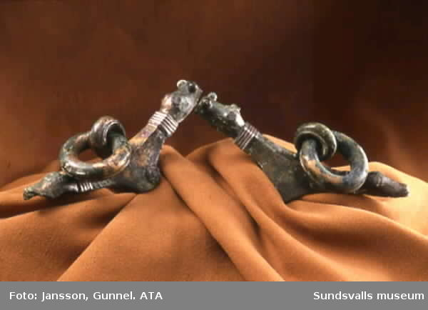 Fynd från Högomsgravfältet. Sadelbeslag i brons.