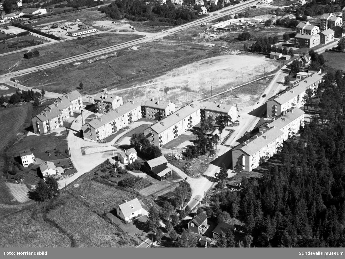 Flygfoton över Sallyhill med S:t Olofsskolan under byggnation. Mitt i bild (bild 1) närmast flerfamiljhusen i bostadsområdet Kronosågen ligger Sallyhills gård.