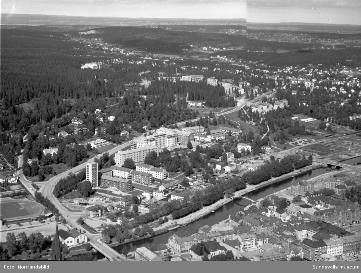Flygfoton över gamla Norrmalm och gamla lasarettet.