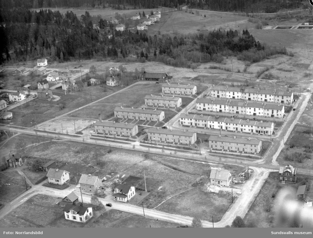 Flygfoton över huslängorna i Fagerdal, vid Södra Allén, Rörgatan, Ringvägen.