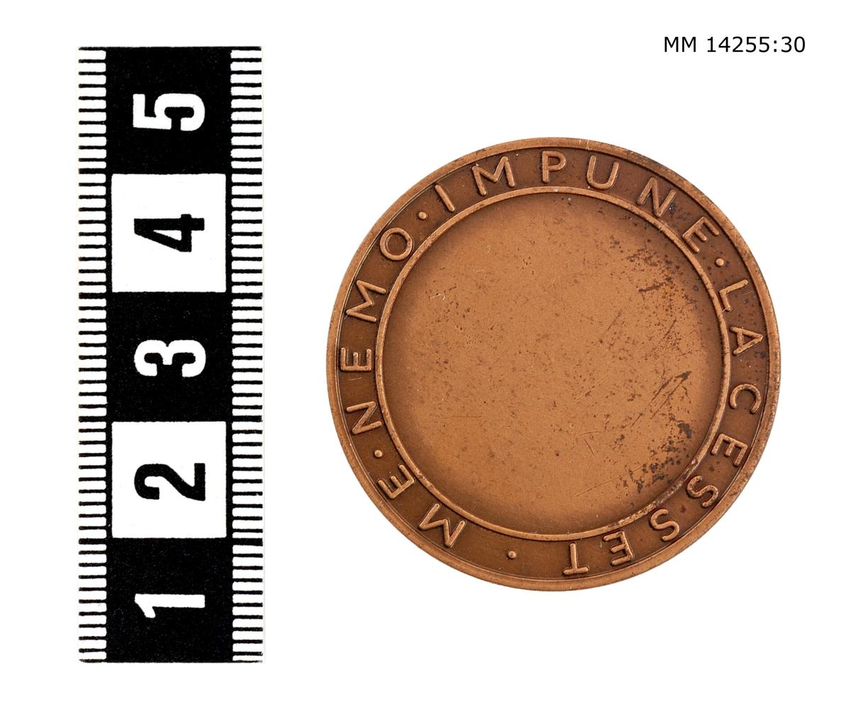 Medalj i brons. På framsidan vapenskjöld med lejon, krönt av kunglig krona jämte omskriften H.M. KRYSSARE GÖTA LEJON. På baksidan koncentriska ringar, däremellan inskriptionen ME NEMO IMPUNE LACESSET (Ingen angriper mig ostraffat). Foto: Se mm 14255:1.