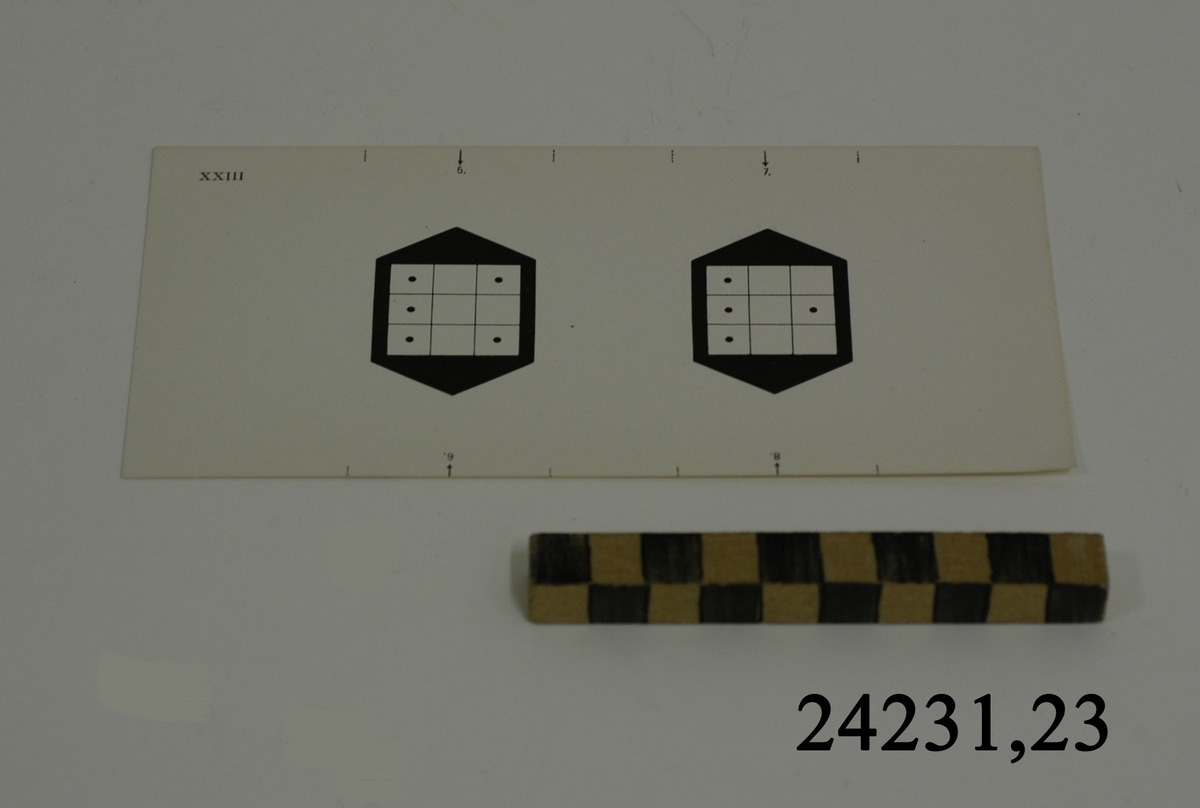 Rektangulärt vitt pappersark numrerat XXIII i övre vänstra hörnet. Utmed långsidornas kanter, små markeringar med streck och siffrorna 5 - 8. På arket syns två stycken olika bilder i svartvitt, en för vardera öga. Till vänster: Svart figur med vit kvadrat indelad i nio stycken små fält. I fem av fälten en svart punkt. Till höger: Samma figur med fyra punkter. Dessa är placerade i samma fält som vänsterbilden men en saknas.