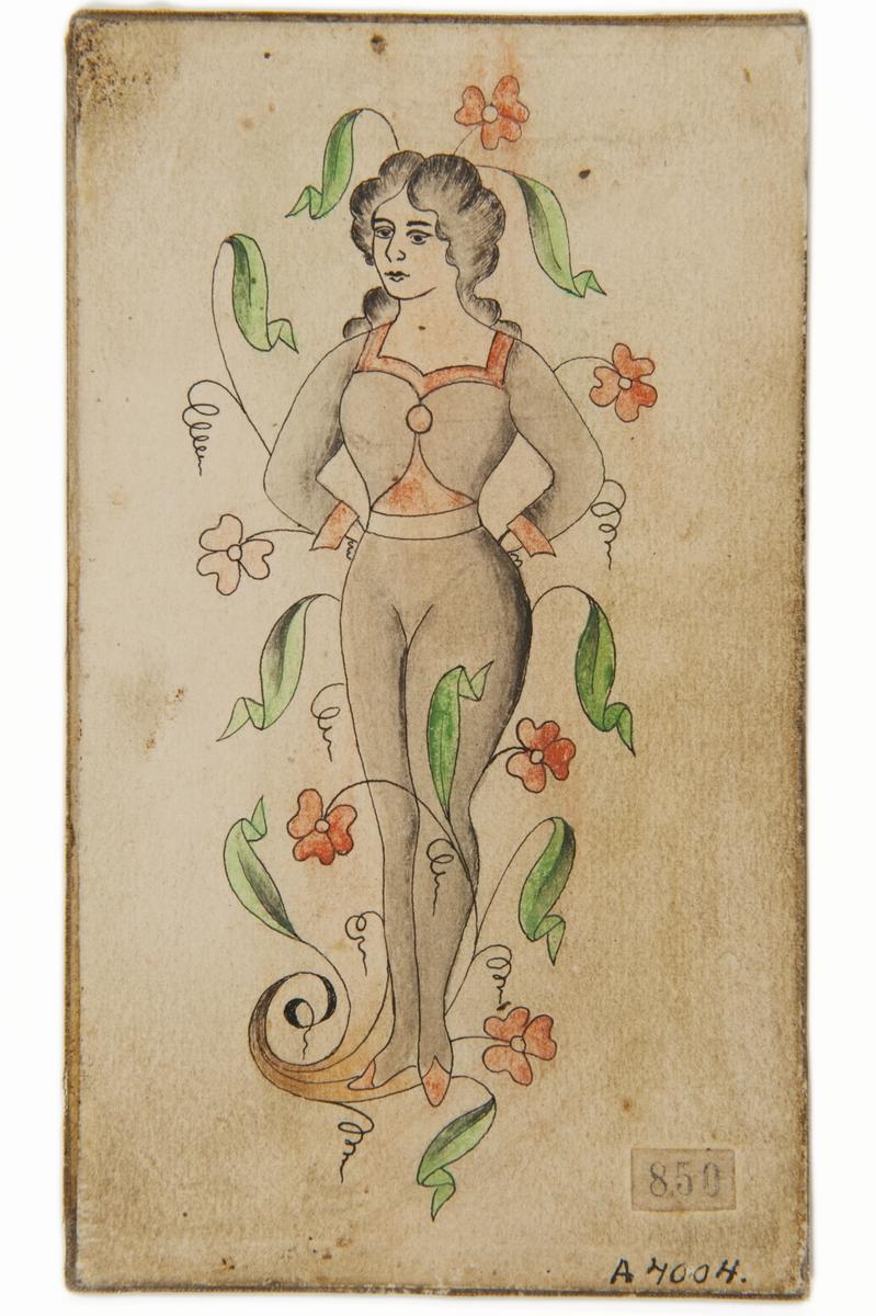 Tatueringsförlaga. En kvinna i helfigur, iklädd en grå åtsittande dräkt, omgiven av blommor
