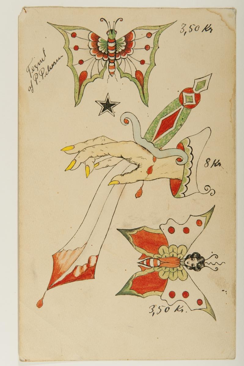 """Tatueringsförlaga. Tre olika motiv. 1. En fjäril med vita och rödprickiga vingar. 2. En hand med gula naglar genoborrad av en blodig kniv med grönt skaft. 3. En fjäril med rödvita vingar och kvinnohuvud.  2) """"Dolken genom handen är ett otäckt och skrämmande motiv. Kanske kan motivet symbolisera hämnd. Både kniven och ärmen av exotiska element""""  3) """"Fjärilen är ett motiv med flera tänkbara förklaringar. I början av 1900-talet kunde fjärilen ofta symbolisera det flyktiga. Det kan också ha varit en symbol för lättfotade kvinnor. Liksom fjärilen hoppade från blomma till blomma hoppade dessa kvinnor från man till man. I dag har motivet troligen förlorat dessa innebörder. Motivet anses ofta estetiskt vackert och förekommer både hos män och kvinnor.""""  Text från appen """"Tatuera dig med Sjöhistoriska"""" som gjordes i samband med utställningen Tro, hopp och kärlek 2012."""