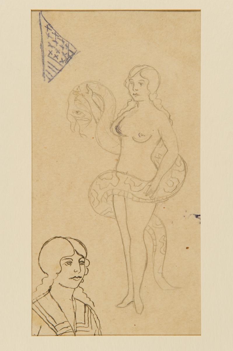 Tatueringsförlaga. Överst en flik av en amerikansk flagga. Till höger en naken kvinna omslingrad av en orm. I nedre vänstra hörnet ett porträtt i halvprofil av en kvinna i sjömanskrage.