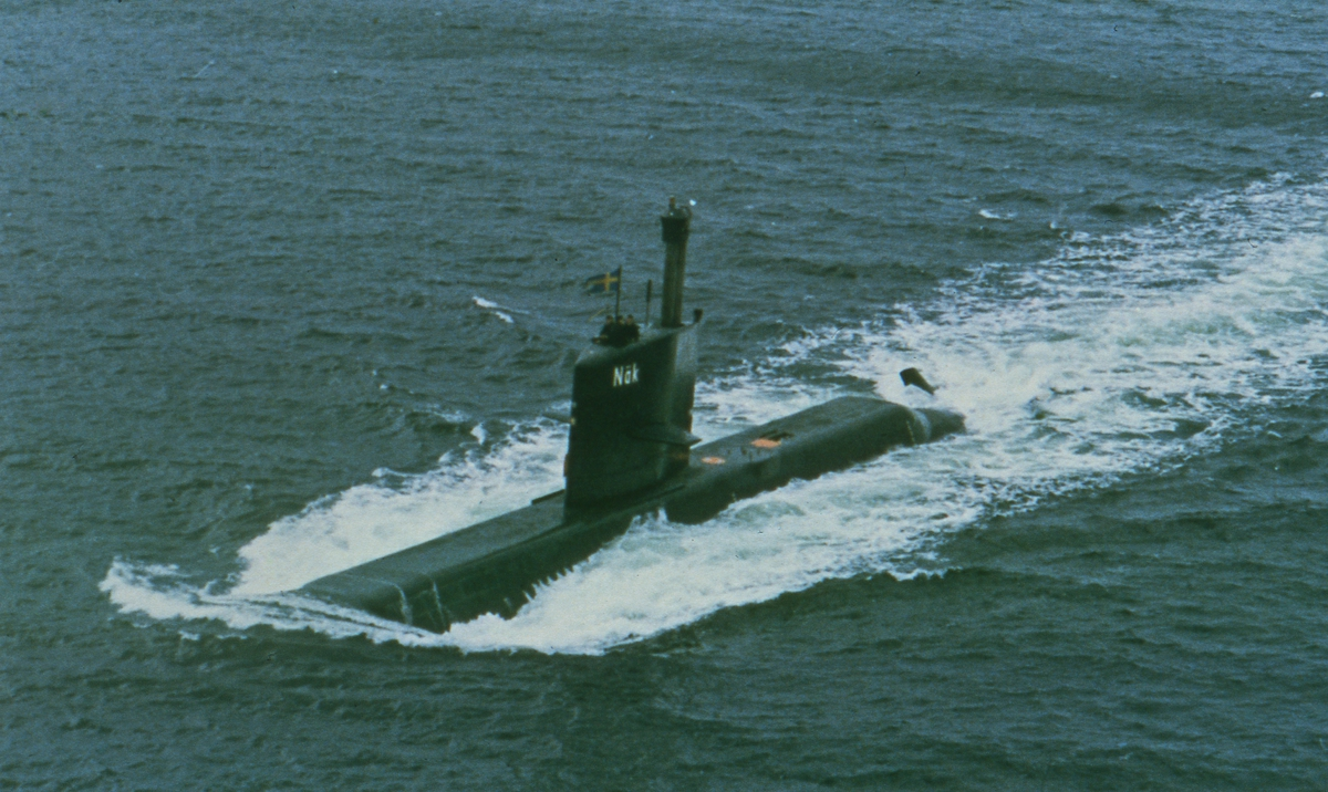 Fartyg: Näcken                          Rederi: Kungliga Flottan, Marinen Byggår: 1978-80 Varv: Kockums Övrigt: Näcken till sjöss.